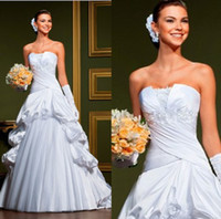 Wholesale 2014 New Arrival ELegant A line Appliques Beads Ruched Satin Corset Draped Satin Tulle Skirt White Ivory Wedding Dresses NC0088
