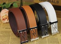 Wholesale The new men and women belts Women s Belts A120 Korean casual black white brown buckle smooth lap letters