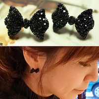 Wholesale Fashion Retro Lovely Black Rhinestone Bowknot Bow Tie Stud Cute Girls Earring