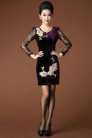 Wholesale Fashion Autumn Heavy Velvet Embroidery Flower Fight Lace Dress Outlet Sale