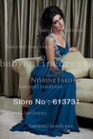 Cheap Sexy V Neck Navy Blue Chiffon Crystal Beaded Arabic Dubai Abaya Kaftan Long Evening Dresses 2014 New Arrival BO2434