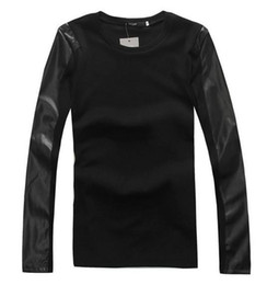 Wholesale KTZ fashion men leather long sleeve tee with high quality leather tshirt shirt with leather sleeves with ZIPPER on two sides