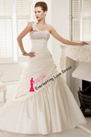 A-Line Reference Images customized Free Shipping One Shoulder Floral Beading Bust Ruched Pin Up Taffeta Crystals Wedding Gown Bridal Gown vestidos de novia