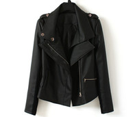 Wholesale 2013 Newest Unique Autumn Korean Style Slim leather Jacket Double lapel Zip Rivet Khaki amp Black Women s Motorcycle Short Jacket GJY12