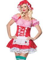 Wholesale Forbidden Sexy French Maid Servant Girl Holloween Costume Ruffled Bow Dress with Lace Up and Layers Accent Apron amp Cap