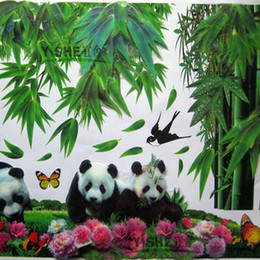 Wholesale 3D three dimensional New removable vinyl wall stickers Panda and bamboo diy home decor wall decals for kids rooms