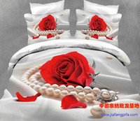 Adult Twill 100% Cotton 3D Red Rose white pearl comforter bedding set queen bed linen sheet quilt duvet cover bedspread bedsheet oil painting wedding