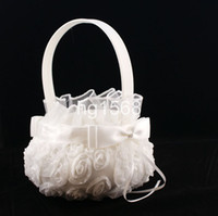 Wholesale Hot selling cute wedding favors Lace rose Flower Girl Baskets