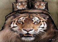 Adult Twill 100% Cotton 3D Tiger brown comforter bedding set queen bed linen sheet quilt duvet cover bedspread bedsheet oil painting animal print cotton