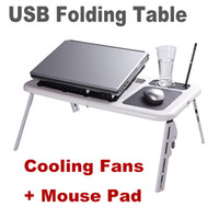 wood School Furniture Computer Desk Adjustable Portable Laptop USB Folding Table Laptop Desk with 2 Cooling Fans + Mouse Pad