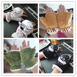 Wholesale 2013 Korean version of the new cartoon plush warmth computer students through a variety of semi half finger gloves student Ka Aika