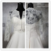 Shawls 3/4-Length Sleeve Flower Wholesale - Corded Chantilly Lace Stretch Tulle 3 4 Long Sleeves Front Botton Enclosure Wedding dress Jacket