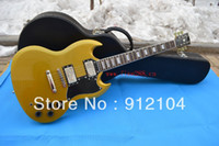 Solid Body 6 Strings Mahogany free shipping new yellow SG electric guitar+suitcase