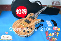 Solid Body 6 Strings Mahogany wholesale and retail JU wood skin with body natural electric guitar+guitar foam box +free shipping F-1387