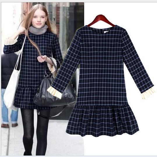 Wholesale - Hot Sale New 2014 Women Winter Dress Fashion Ruffle Hem