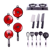 Wholesale New Set Child Pretend Education Learn Kitchen Cookware Play Kid Toy Pot Pan Knife