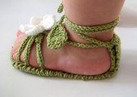 Wholesale Crochet Kids Shoe Patterns - Green flower crochet sandals.100% cotton, soft bottom shoes. Gladiator sandals. Kid toddler shoes.cheap.BABY WEAR.china.shop 4pair 8pcs