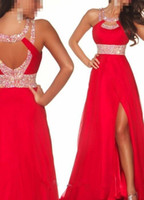 Wholesale in stock ready made Dazzing Crystal Long Red or blue Chiffon Beads Front Side slit Evening party Prom Bridesmaid Dresses Ball Gown