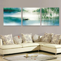 Wholesale Framed Panel Large Chinese Painting Landscape Picture Unique Gift Piece Canvas Art Sea Home Decoration XD01974
