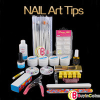 Wholesale Full Cutter Buffer Brush Acrylic Glue Nail Art UV Gel Powder Tips Kit Set