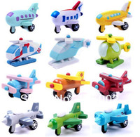 Wood aircraft models for sale - Hot sale New arrival wooden airplane aircraft mini model baby boy christmas gift toy for kid MIC set