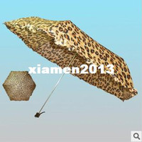 Wholesale Special Korean Original Single Cute Leopard Pattern Umbrella Rain Ultralight K Three Folding
