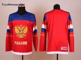 2014 Juegos Olímpicos de Rusia Hockey Jersey Red Hockey Jersey del equipo Rusia Jerseys nueva llegada jugadores Marca Sports Jerseys orden de la mezcla uniforme desde maillot olímpico rusia proveedores
