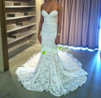 Wholesale 2014 Sexy inbal dror Mermaid Sweetheart church wedding Long length Sweep Train Lace Lace up vintage Wedding Dresses