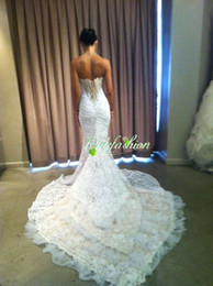 Sexy inbal dror Mermaid Sweetheart church wedding Long length Sweep Train Lace Lace up vintage Wedding Dresses