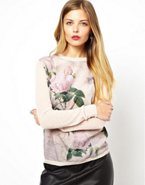 Wholesale NWT Ladies Sweaters Spring Big Brand Style Pullover Chiffon Split Flowers LM014