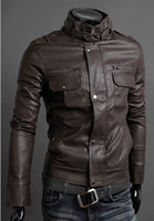Wholesale 2014 New Men leather jackets Slim fit Stand up collar casual cardigan jacket motorcycle Outerwear long sleeve coat men s clothing