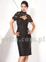 Wholesale Black Sexy Mother Of The Bride Dresses Sheath Knee Length Pleats Fashion High Neck Lace Elegant Wedding Party Dresses