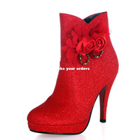 Wholesale Yarn married name is still an essential warm winter bride wedding shoes red wedding shoes gold wedding shoes red flowers