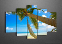 Wholesale Framed Panel Large Sea Wall Painting Palm Tree Beach Unique Gift Piece Picture Home Decoration XD01979