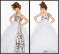 Wholesale 2016 Cute Lovely Sequins Crystal Ruffles A Line Tulle Girl s Pageant Flower Girl Dresses With One Shoulder Neckline
