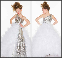 Wholesale 2014 Cute Lovely Sequins Crystal Ruffles A Line Tulle Girl s Pageant Flower Girl Dresses With One Shoulder Neckline
