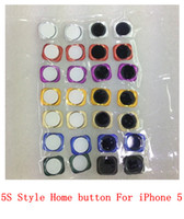 Wholesale Mutli Colors For iPhone Replacement Home Button With Metal Ring Same Look as for iPhone S