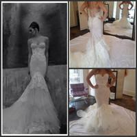Wholesale 2014 Sexy inbal dror Mermaid Sweetheart church wedding Long length Sweep Train tulle Lace vintage Wedding Dresses