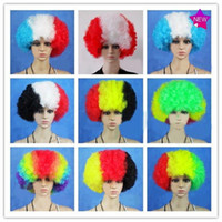 Wholesale Dia cm Hot Design National Flag Design Color Wigs World Cup Cheering Props Souvenir Gift for Fans FT018