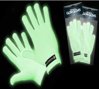 Wholesale Factory directly sale pairs Fluorescent gloves glowing in the dark green light