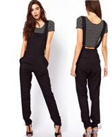 apron pattern - Jumpsuit Women s Overalls With Chest Pocket Racerback High Waist Zipper Aprons Pattern Black Jumpsuit Ladies Trousers