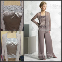 Wholesale 2014 Actual Picture elegent mother of the bride pant suits chiffon Dresses with jacket Mother of the Bride Dresses pant suits