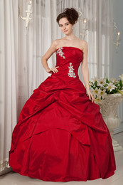 Wholesale 2013 Strapless Appliques Red Taffeta Sheath A Line Elegant Long Prom Gowns Pretty Quinceanera Dresses