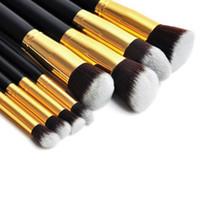 Travel Set best professional foundation - 8pcs Gold Professional Makeup Set Kits Foundation Face Powder Cosmetics Brush Tools Best Gifts