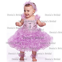 Wholesale 2014 New Light Purple Beaded Crystal Rhinestone Leglet Cupcake Bateau Lace Sleeves Tea Length Organza Baby Girl s Pageant Dresses dhyz