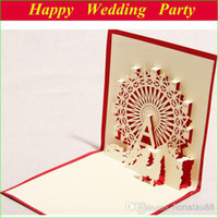 Wholesale Ferris wheel Birthday Card D Greeting Cards in Red Laser Cut Birthday Gift