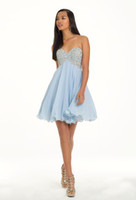 Reference Images Chiffon Strapless Classy Stuning Beaded Sweetheart A-Line Sweetheart Neckline Lace-up Chiffon Short Mini Cocktail Homecoming Dresses
