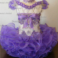 Wholesale 2015 New Kids MINI Cupcake Gown Short Sleeves Beaded and D Appliques Little Girl s Pageant Dresses dhyz Buy get free Hair Flower