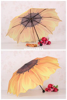 Wholesale Factory Hot Sale Fashion Sunflower Folding Sun Rain Umbrellas