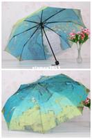 Wholesale 8 Fashion Gloval Map Three Folding Creative Sun Rain Factory Umbrellas